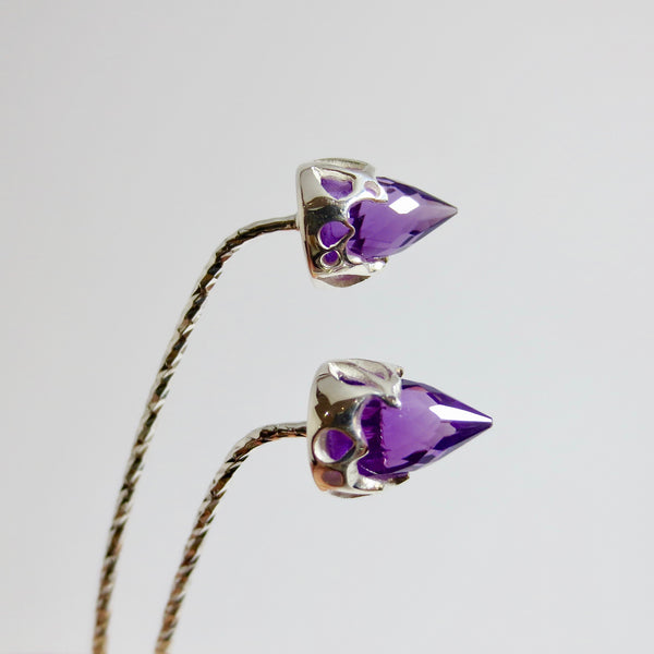 Comet earrings in silver with Amethyst