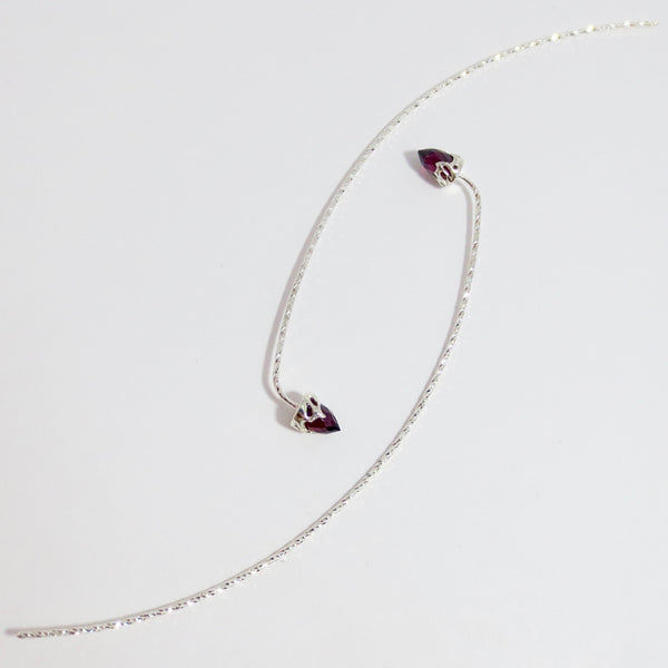 Comet earrings in silver with Garnet