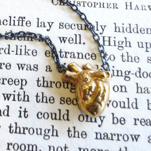 Gold Anatomical Heart necklace with DipDye chain