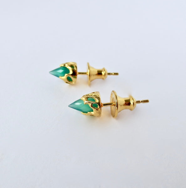 Gold chrysalis mini studs with Green Agate bullets.