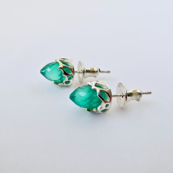 Silver chrysalis studs with green agate.