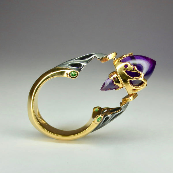 Amethyst and green tsvorite swivel ring
