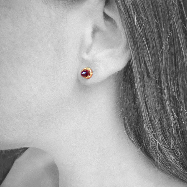 Gold chrysalis studs with deep red Garnet