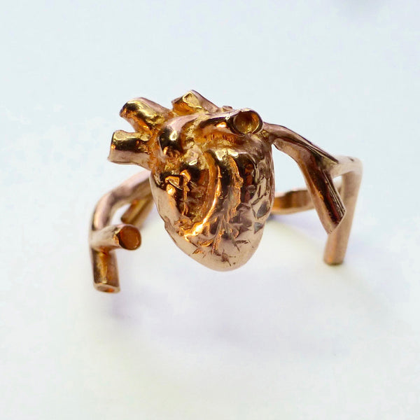 Rose Gold Anatomical Heart ring