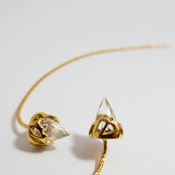 Comet earrings dressed in gold with Rock crystal