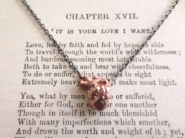 Rose Gold Anatomical Heart necklace with DipDye chain