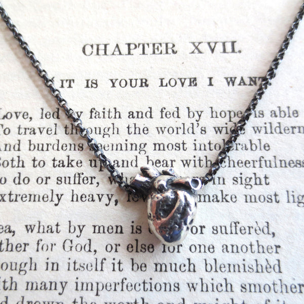 Silver Anatomical Heart necklace.