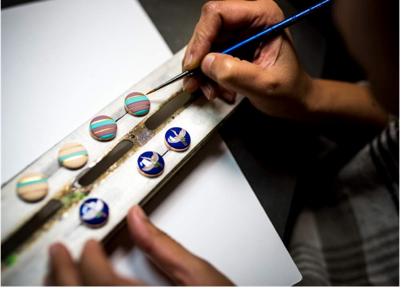 Tending to details and fine craftsmanship: Hand painted cufflinks