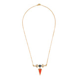 Moroccan Lattice Neck chain - Teal & Orange