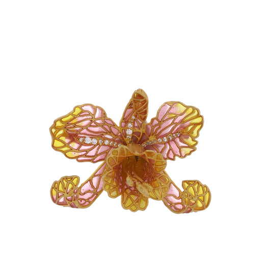 Orchid brooch - Pink & yellow