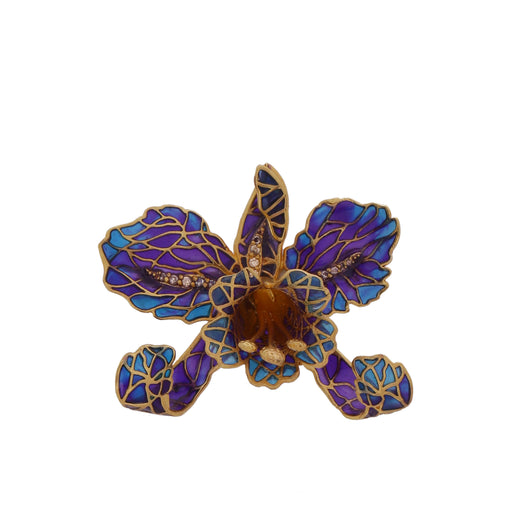 Orchid brooch - Blue & Purple