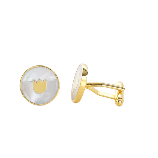 Tulip mother of pearl cufflinks