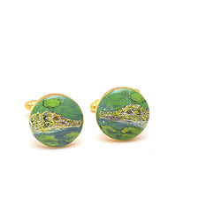 Hand-painted Crocodile Cufflinks