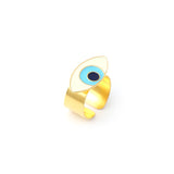 Evil eye adjustable ring - Ivory Gold