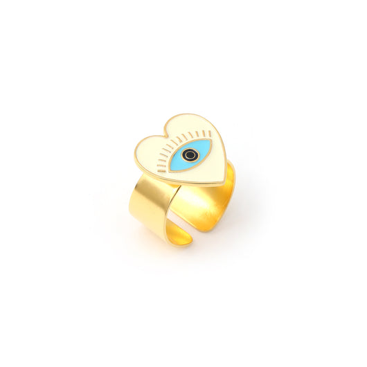 Heart eye adjustable ring - Ivory Gold