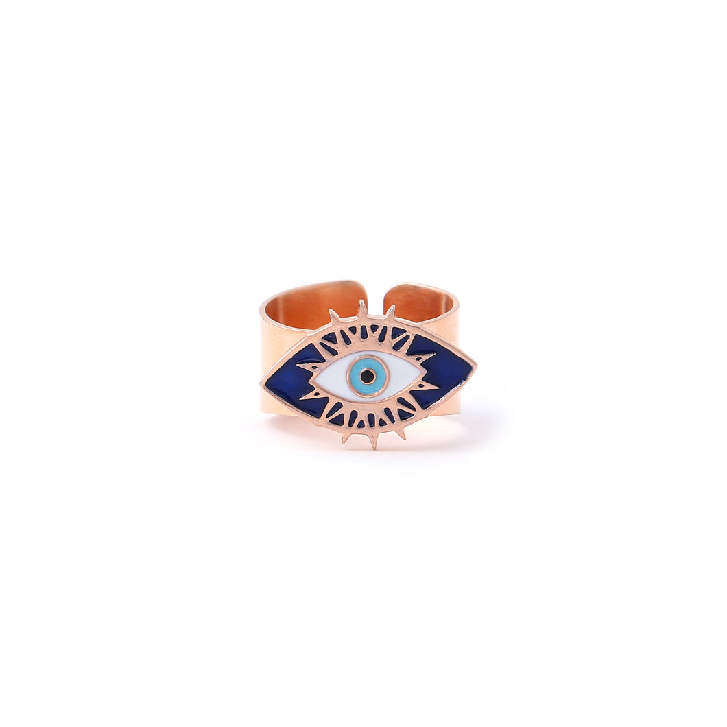 Evil eye adjustable ring - Rose Gold