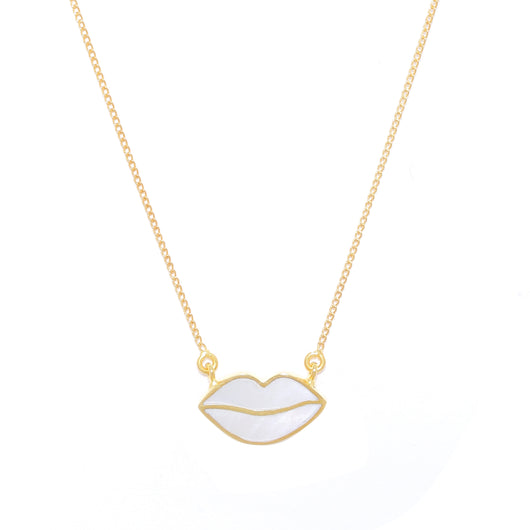 Lips mother of pearl neck chain