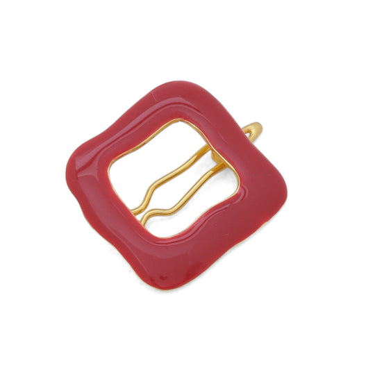 Square hair clip - Crimson Red