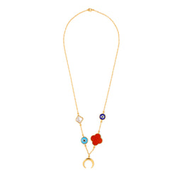 Color-pop charm neck chain