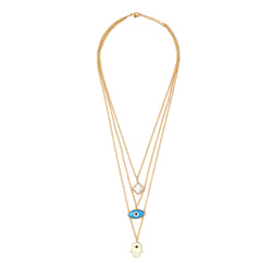 Multi layer neckchain / hamsa, clover, evil eye