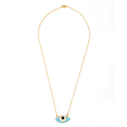 Evil Eye Enamel Neck Chain - Turquoise Gold