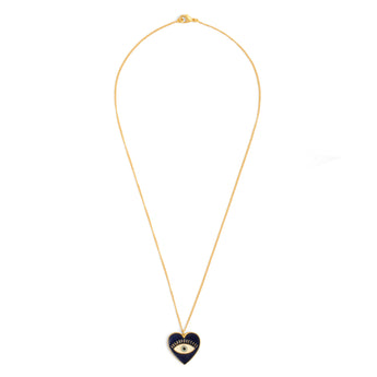 Heart Eye Enamel Neck Chain - Blue Gold