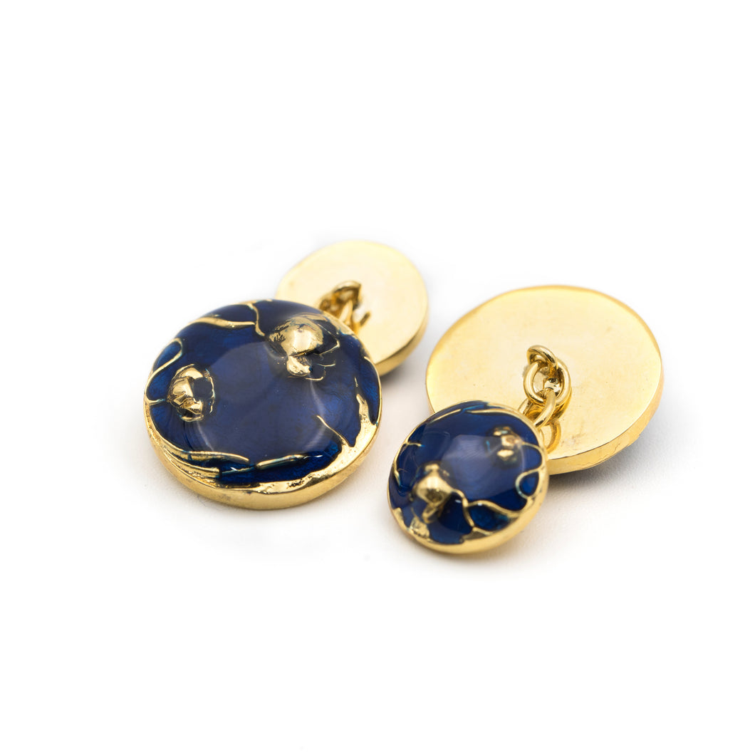 Bloom Chain Cufflinks - Blue - AZGA