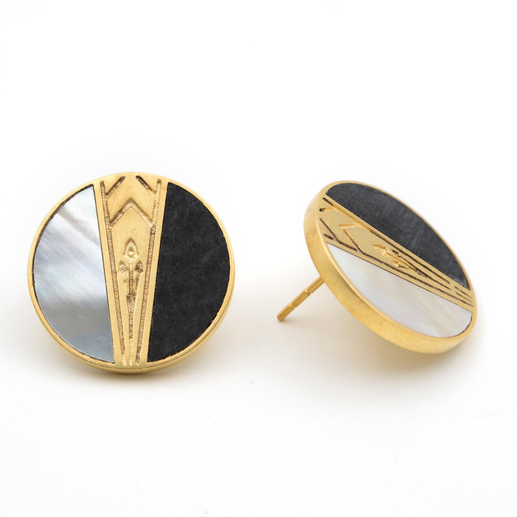 Art Deco Black and White Earrings - AZGA