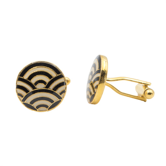Cascade Cufflinks - Black and Ivory - AZGA