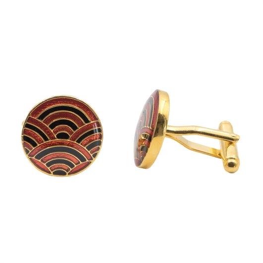 Cascade Cufflinks - Black and Maroon - AZGA