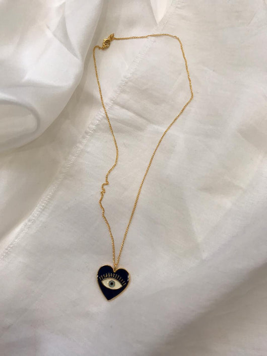 Heart Eye Enamel Neck Chain - Gold