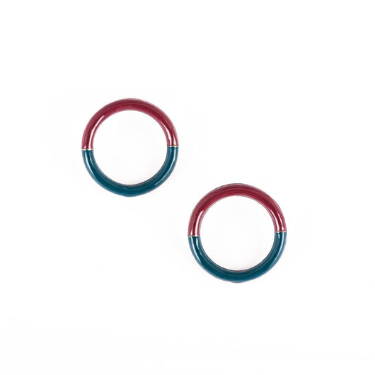 Amor Circle Earrings - Teal and Barn red