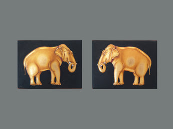 Elephant pair - MDF with real gold work