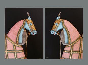 Horse pair - MDF with real gold work