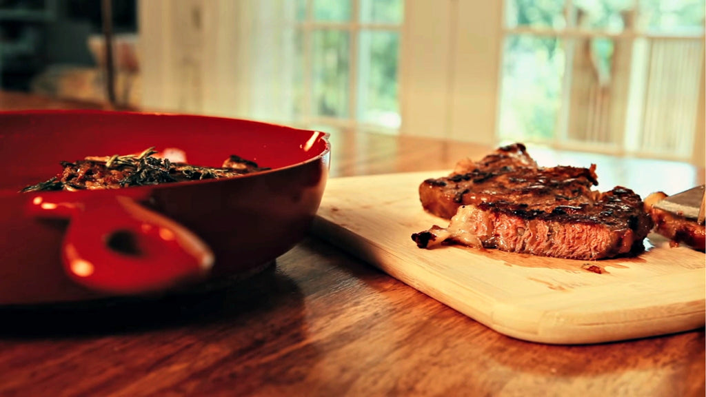 Recipe Idea: Pan-Seared Bone-In Ribeye Steaks with Shallot Rosemary Butter