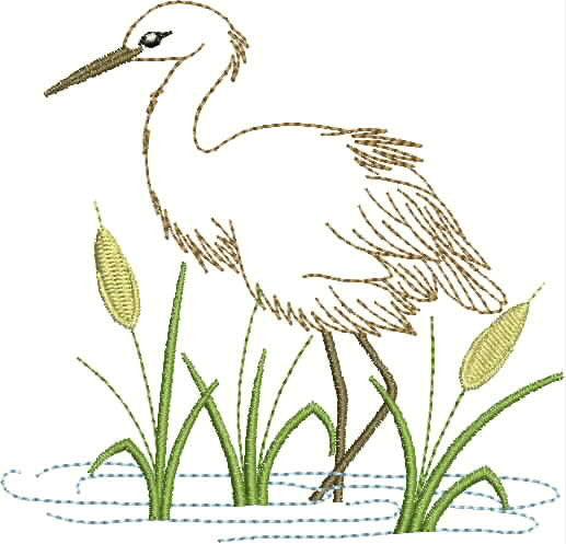 Embroidered Towel - Heron