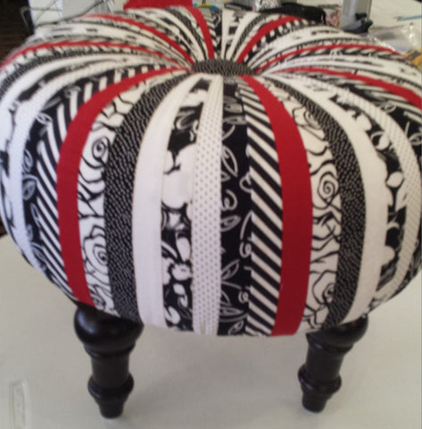 Custom Tuffets by That's Sew Marti! - Black/White with a Pop of Red