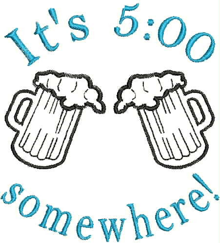 Embroidered Can Cozie - It's 5:00 Somewhere!