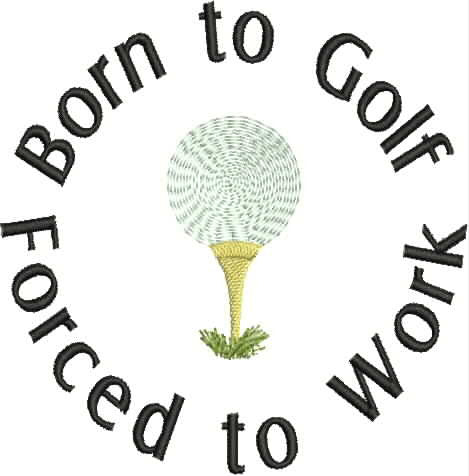 Embroidered Can Cozie - Born to Golf - Forced to Work