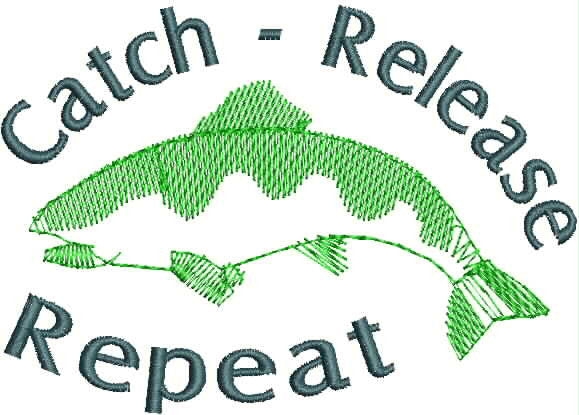 Embroidered Can Cozie - Catch Release Repeat