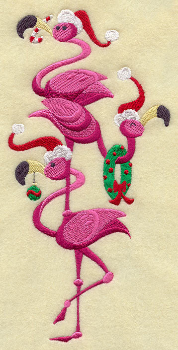 Embroidered Towel - Frolicking Christmas Flamingos