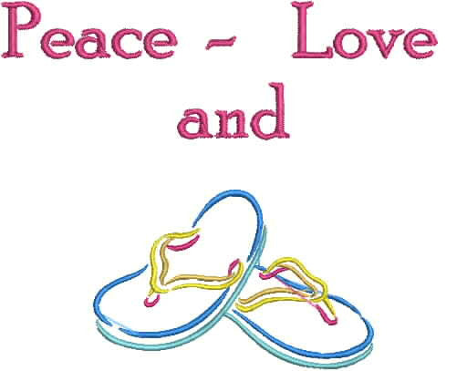 Embroidered Can Cozie - Peace, Love and Flip Flops