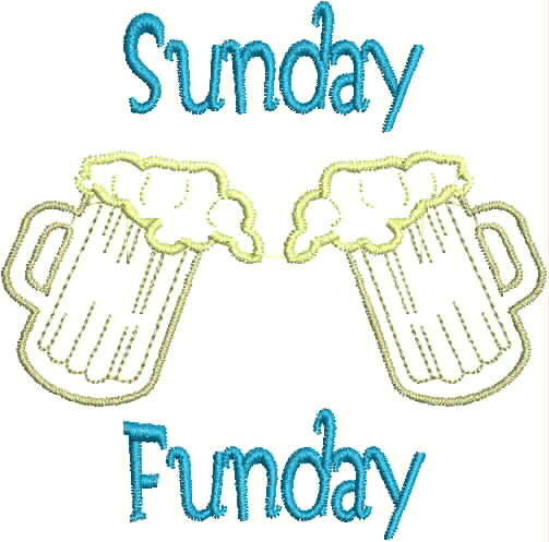 Embroidered Can Cozie - Sunday Funday