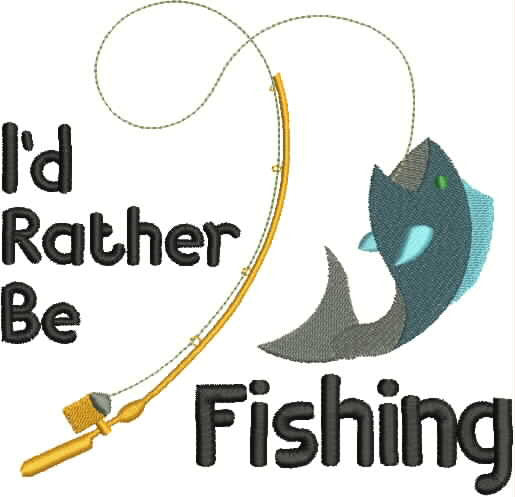 Embroidered Can Cozie - I'd rather be fishing