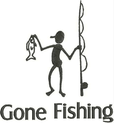 Embroidered Can Cozie - Gone fishing