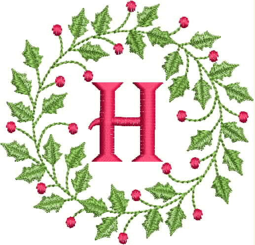 Monogrammed Towel - Christmas Holly Wreath