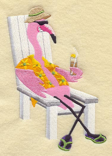 Embroidered Towel - Beach Flamingo