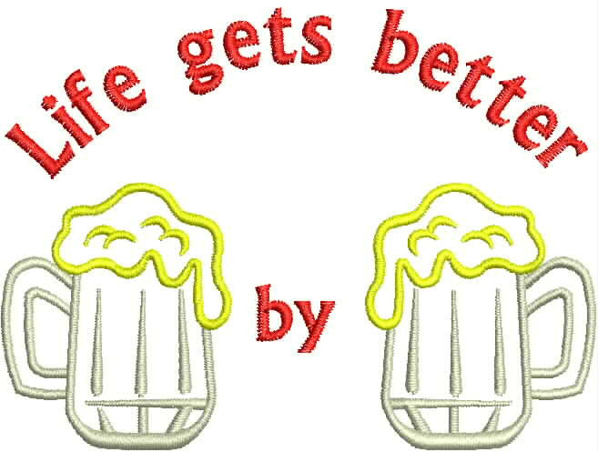 Embroidered Bottle Cozie - Life gets Better - Beer by Beer