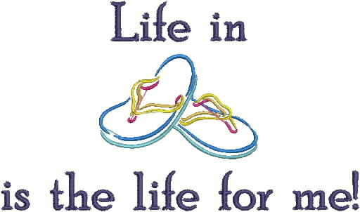 Embroidered Can Cozie - Life in flip flops is the life for me
