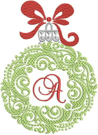 Monogrammed Towel - Christmas Ornament Design